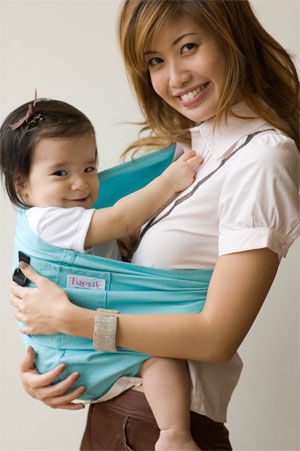 Pupsik Studio Stylish Baby Pouch Carrier in Aqua Marine