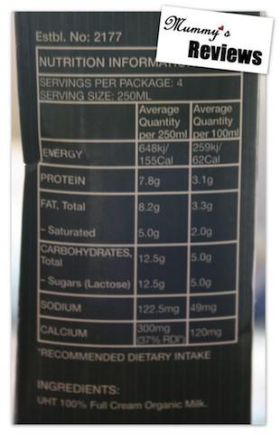 True Organic Organic Milk (UHT) Nutrition Information