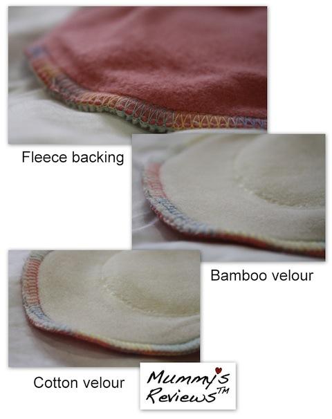 "Fresh Moon 11"" AIO Organic Bamboo & Cotton Velour Cloth Pads close up"