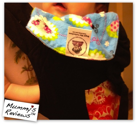 Mummy's Reviews - Angel Mel Collections Cuddly Buddies Bib on baby carrier