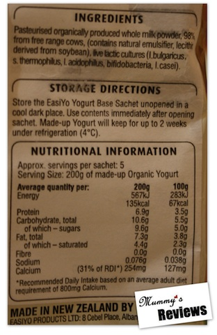 EasiYo Organic Yoghurt Nutrition
