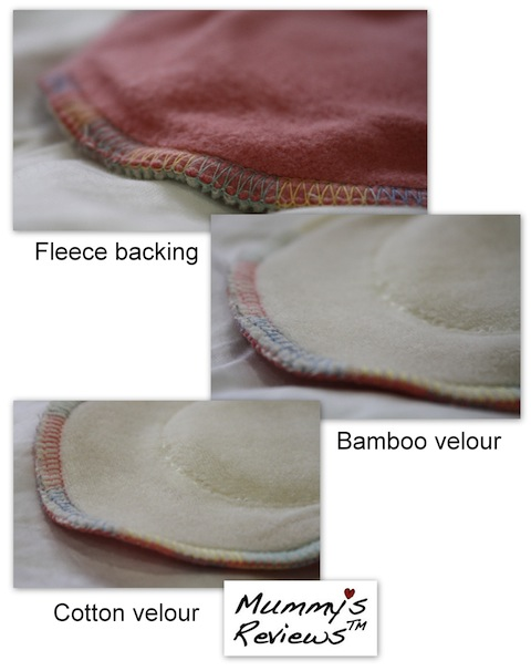 "Fresh Moon 11"" AIO Organic Bamboo & Cotton Velour Cloth Pads close up"